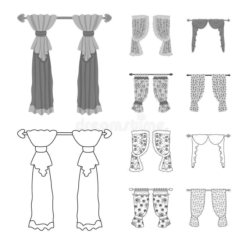 Dirigez la conception des rideaux et drapez le symbole Placez des rideaux et de l'illustration courante de vecteur d'aveugles illustration libre de droits