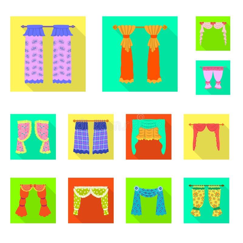Dirigez la conception des rideaux et drapez le symbole Placez des rideaux et de l'illustration courante de vecteur d'aveugles illustration de vecteur