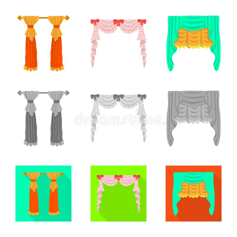 Dirigez la conception des rideaux et drapez le symbole Placez des rideaux et de l'illustration courante de vecteur d'aveugles illustration stock