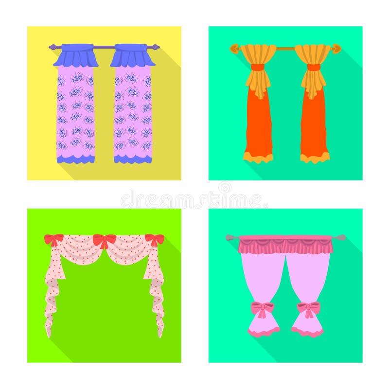 Dirigez la conception des rideaux et drapez le symbole Placez des rideaux et du symbole boursier d'aveugles pour le Web illustration de vecteur