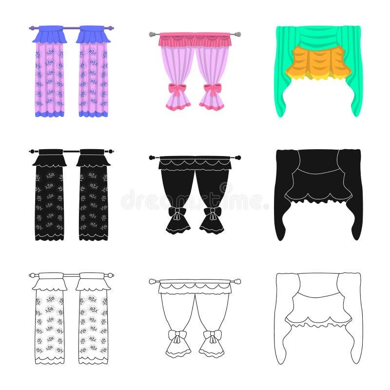 Dirigez la conception des rideaux et drapez le symbole Placez des rideaux et du symbole boursier d'aveugles pour le Web illustration stock