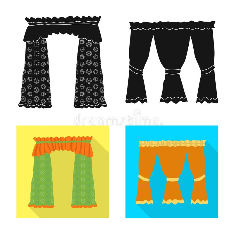 Dirigez la conception des rideaux et drapez le symbole Placez des rideaux et du symbole boursier d'aveugles pour le Web illustration libre de droits