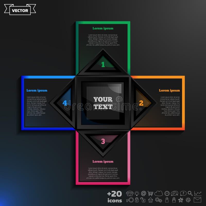 Dirigez la conception infographic avec les places colorées sur le fond noir illustration stock