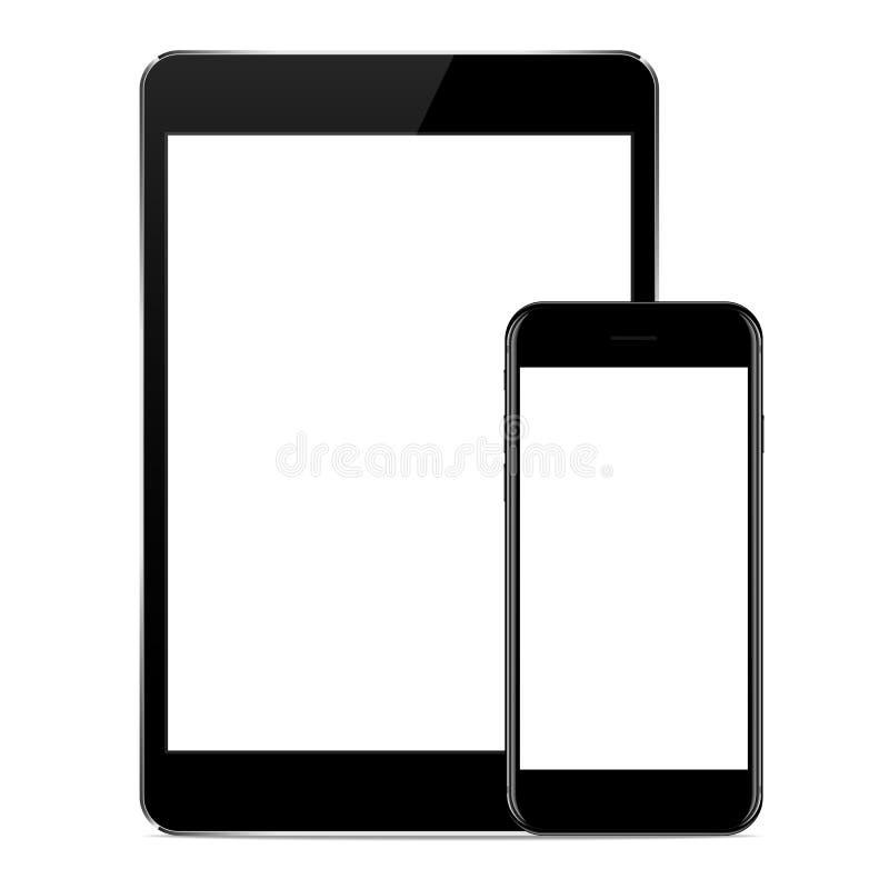 Dirigez la conception, raillez vers le haut de la couleur noire de téléphone et de comprimé sur le blanc illustration de vecteur