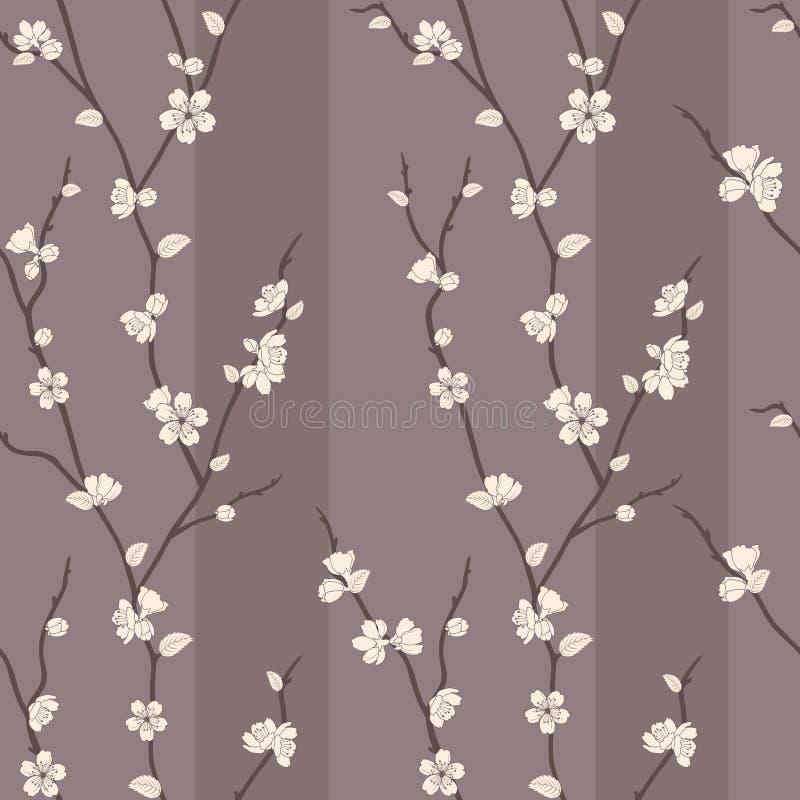 Dirigez la configuration sans joint avec des branchements de sakura illustration de vecteur