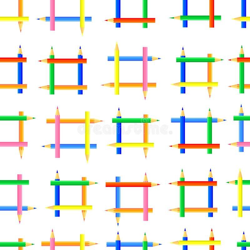 Dirigez la configuration sans joint Cadres carr?s cr??s des crayons color?s illustration stock
