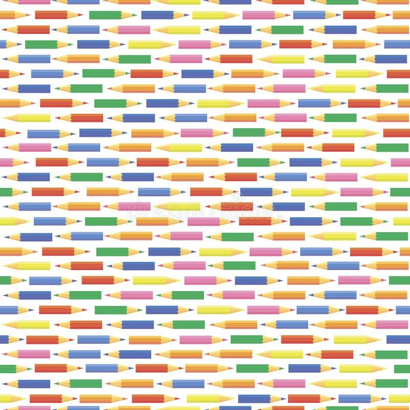 Dirigez la configuration sans joint Chaînes de petits crayons colorés illustration de vecteur