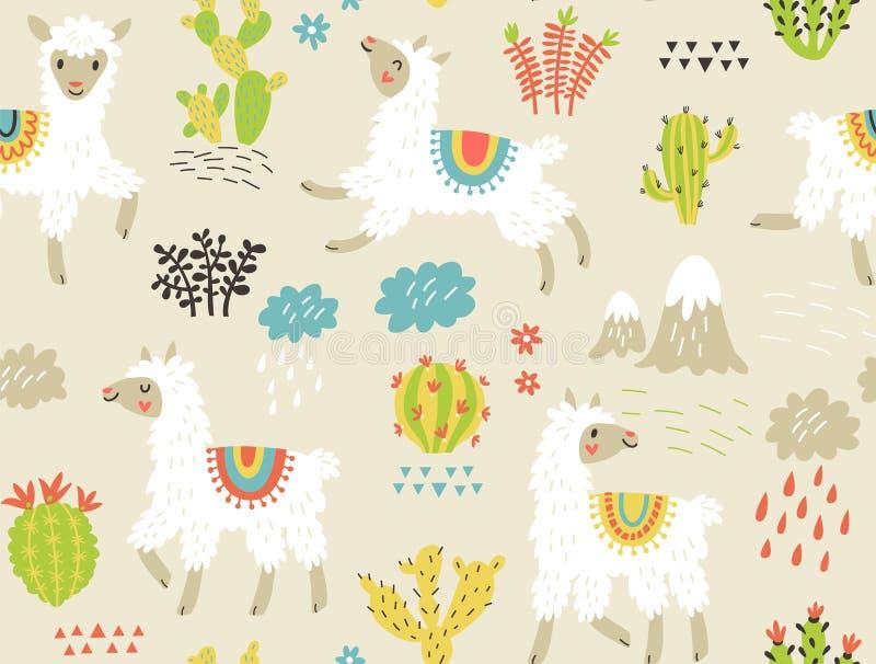 Dirigez la configuration sans joint Lamas et fleurs illustration stock