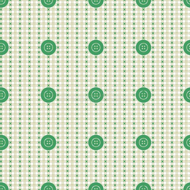 Dirigez la configuration sans joint Le fond beige en pastel avec les boutons verts, échantillon de tissu prélève la texture illustration libre de droits