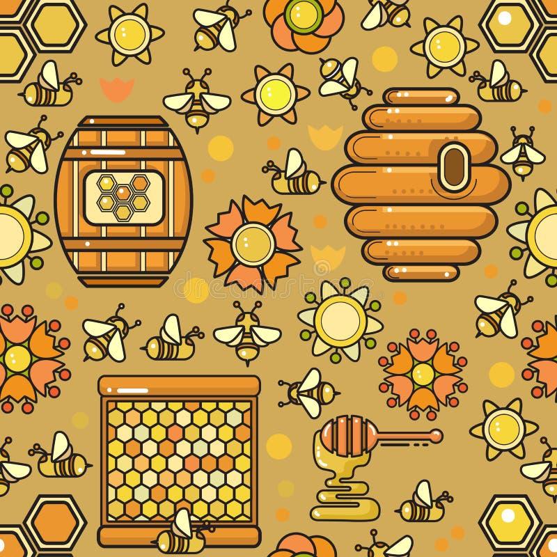 Dirigez la configuration sans joint Produit de l'apiculture Abeille incluse, miel illustration stock