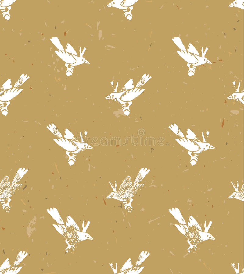 Dirigez la configuration sans joint style de linocut avec les oiseaux blancs Conception grunge de vecteur pour des cartes, des pa illustration stock