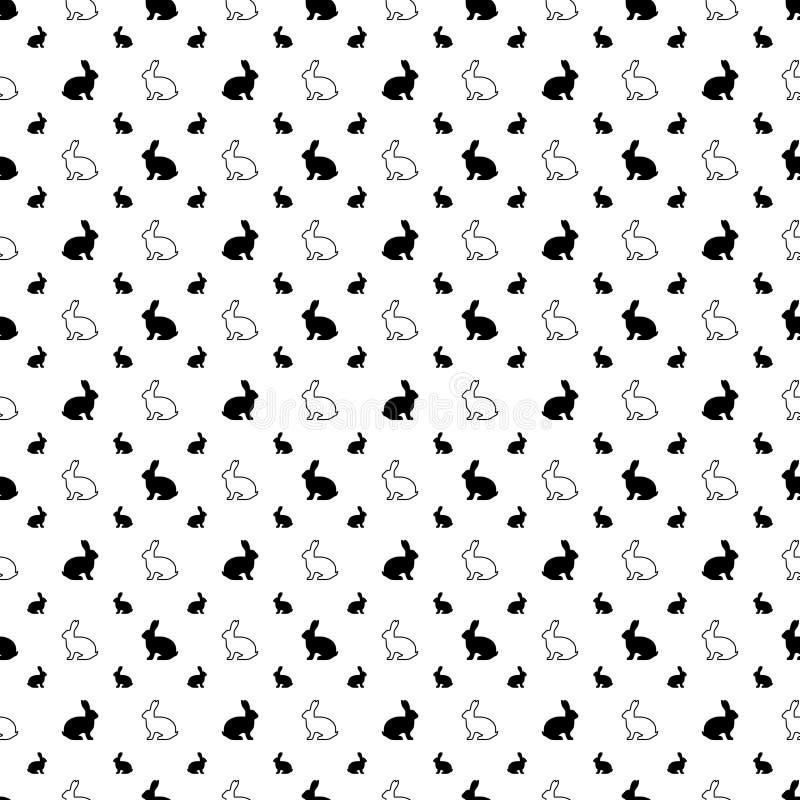 Dirigez la configuration sans joint Texture d'icônes de lapin Fond noir et blanc Conception monochrome illustration de vecteur