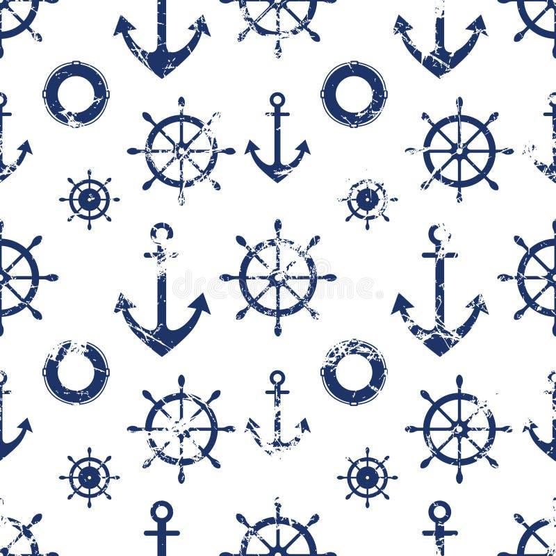 Dirigez la configuration sans joint Volant, conservateur de vie, ancre Fond grunge géométrique créatif, thème nautique illustration stock