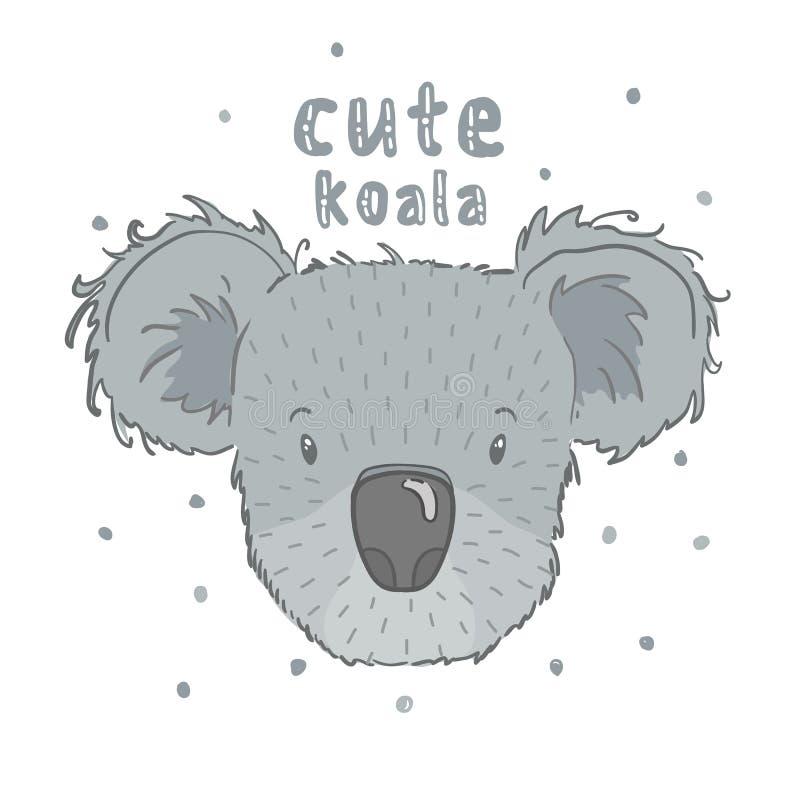 Dirigez la copie mignonne avec un animal de koala, plein visage, à l'arrière-plan blanc illustration libre de droits