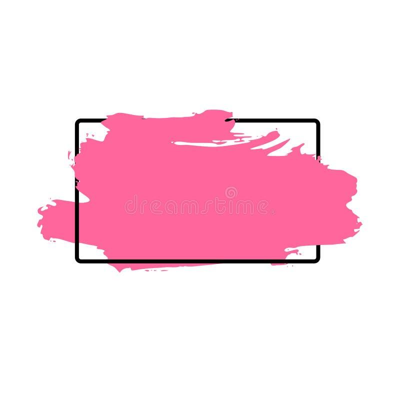 Dirigez la course de pinceau, la brosse, la ligne ou la texture Élément, boîte, cadre ou fond artistique sale de conception pour  images stock