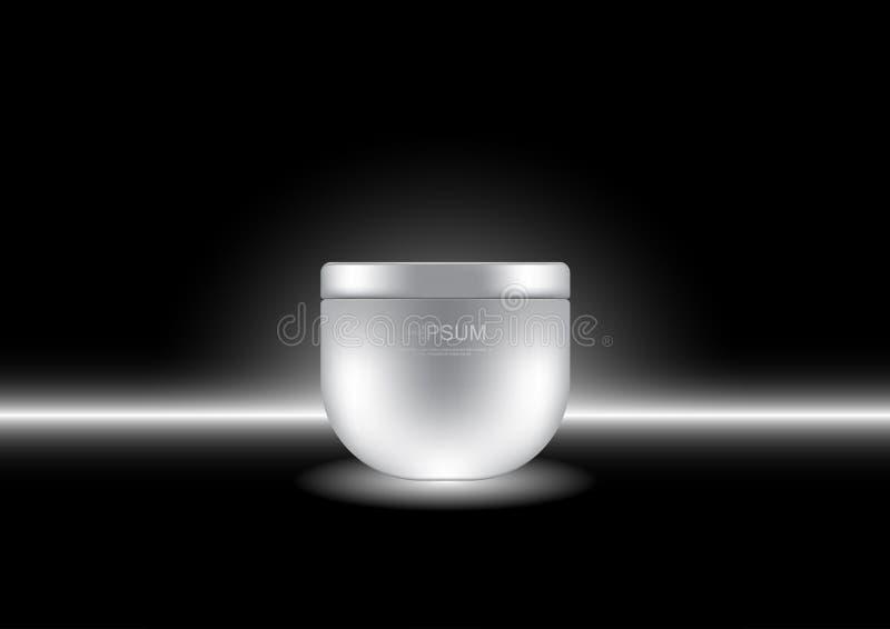 Dirigez la crème de nuit cosmétique d'annonces avec le faible fond clair illustration stock
