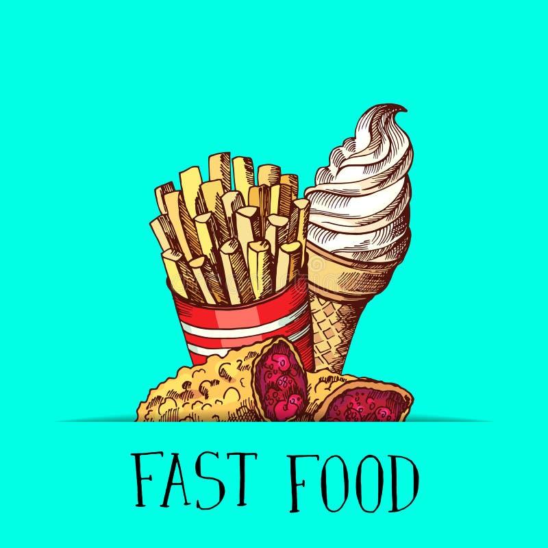 Dirigez la crème glacée colorée tirée par la main d'aliments de préparation rapide, le tarte et l'illustration frite de pommes de illustration de vecteur