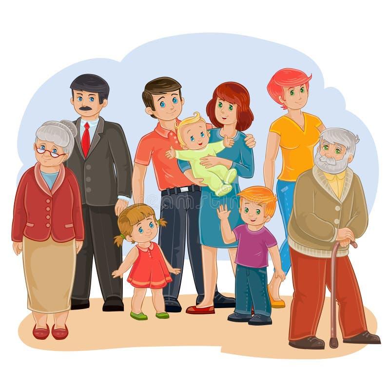 Dirigez la famille heureuse - arrière-grand-père, arrière grand-mère, grand-père, grand-mère, papa, maman, fille, fils et bébé illustration de vecteur