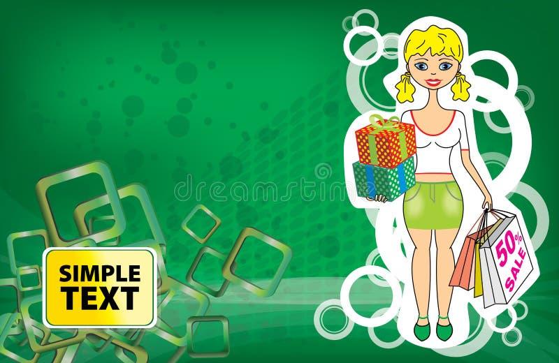 Dirigez la femme décorative avec le grand sac pour l'achat sur le fond avec les éléments ornementaux illustration stock