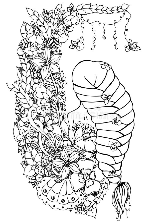 Dirigez la femme de zentangle d'illustration, fille en fleurs Dos nu, longue tresse, griffonnage, zenart, anti effort de colorati illustration stock
