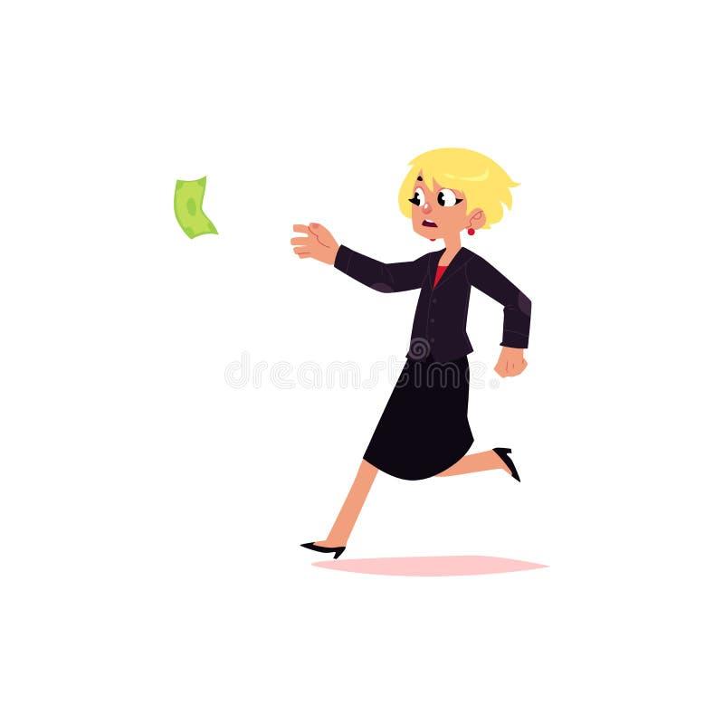 Dirigez la femme plate d'employé de bureau courant pour l'argent illustration de vecteur