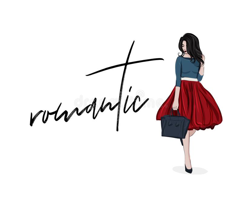 Dirigez la femme romantique dans le beau dessus rouge de jupe et de marine Croquis d'illustration de mode Équipement impressionna illustration stock