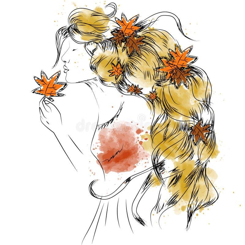 Dirigez la fille avec des feuilles d'automne dans de longs cheveux illustration stock