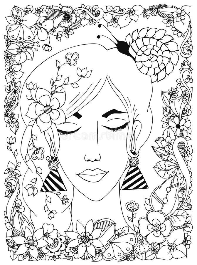 Dirigez la fille d'illustration avec l'escargot de zentangl de fleurs sur sa tête, un cadre de fleur, griffonnage, zenart, dudlar illustration stock