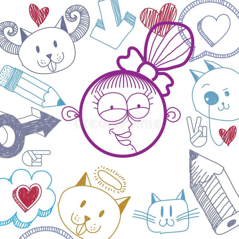 Dirigez la fille de sourire heureuse de bande dessinée tirée par la main avec la coupe de cheveux moderne illustration libre de droits