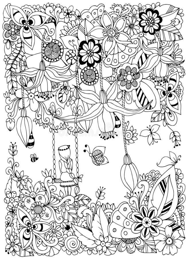 Dirigez la fille de Zen Tangle d'illustration sur une oscillation en fleurs illustration libre de droits