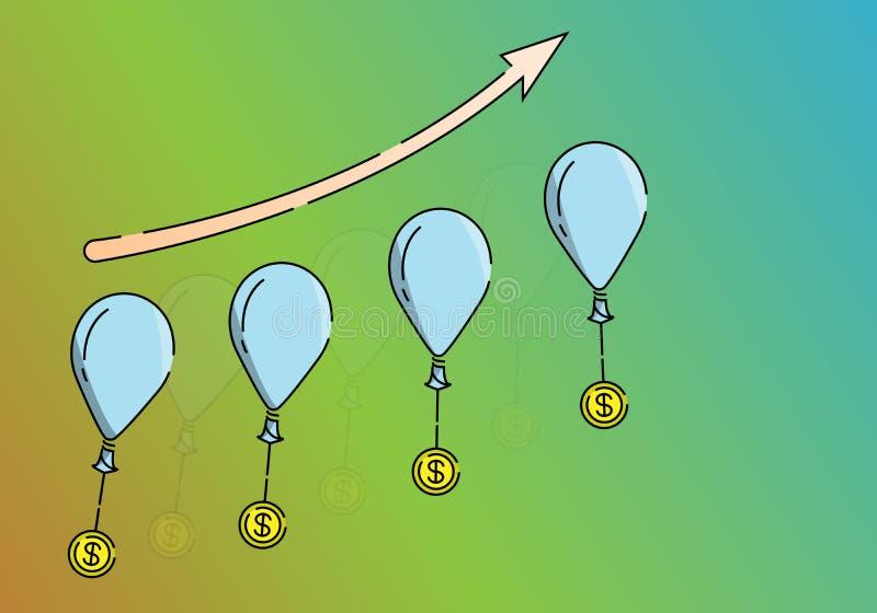 Dirigez la flèche de croissance d'illustration se dirigeant jusqu'à la lumière du succès illustration de vecteur