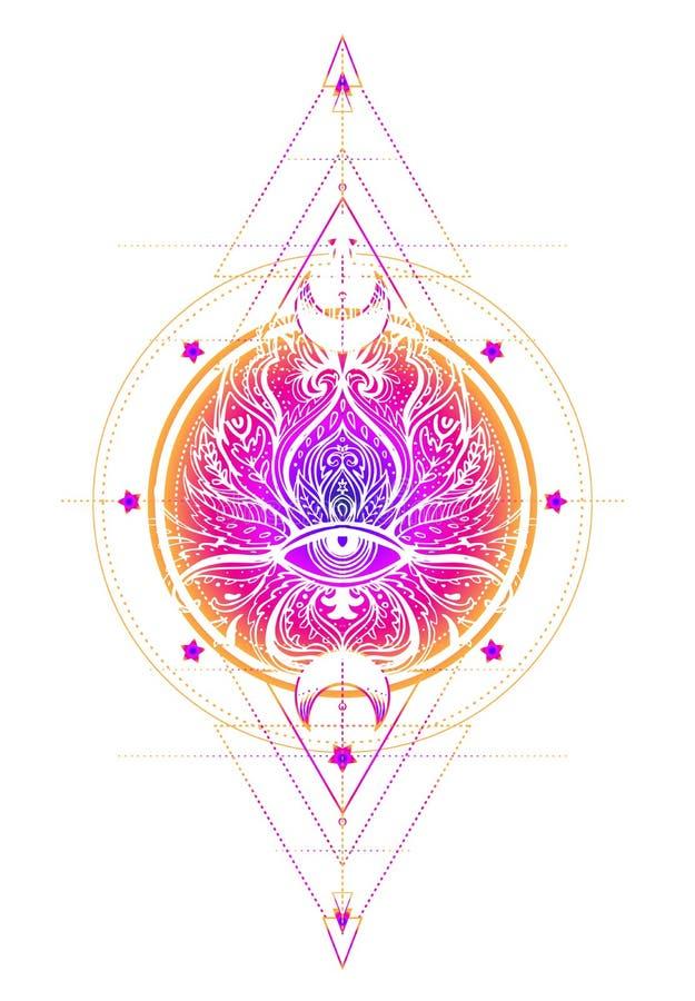 Dirigez la fleur de Lotus ornementale, art ethnique, pai indien modelé illustration de vecteur