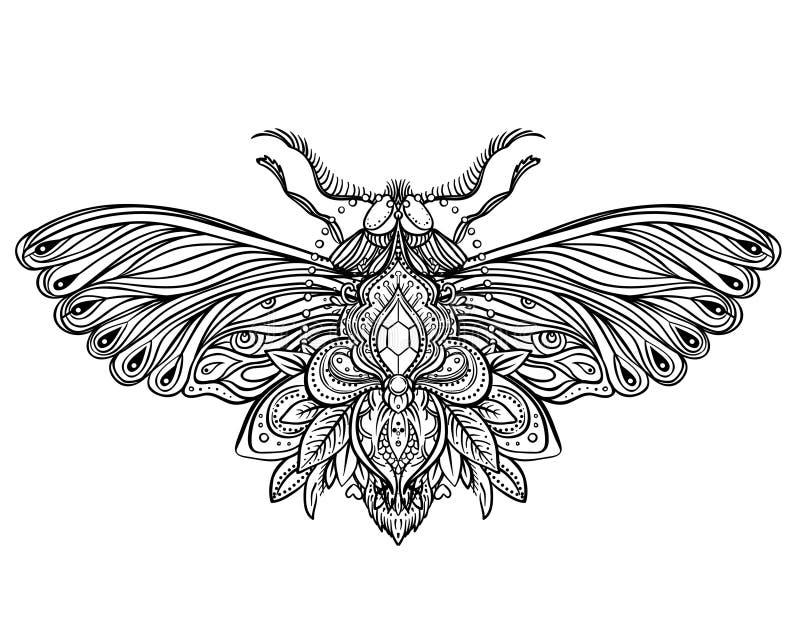 Dirigez la fleur de Lotus ornementale, art ethnique, pai indien modelé illustration stock