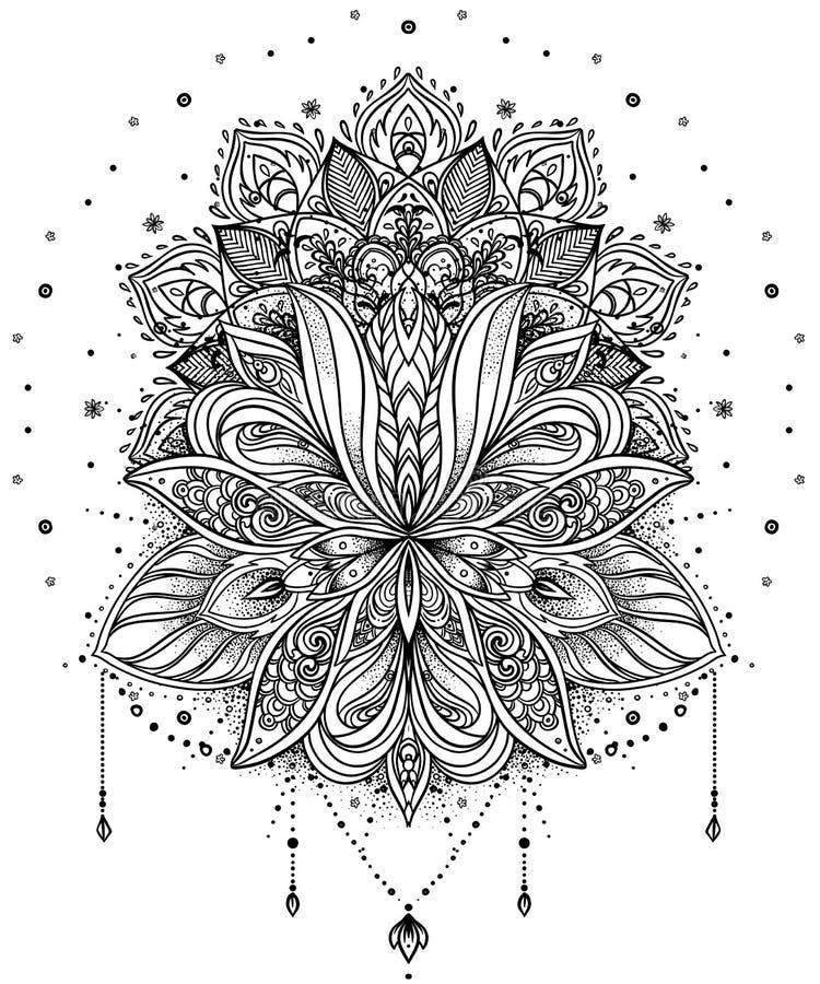 Dirigez la fleur de Lotus ornementale, art ethnique, pai indien modelé illustration libre de droits