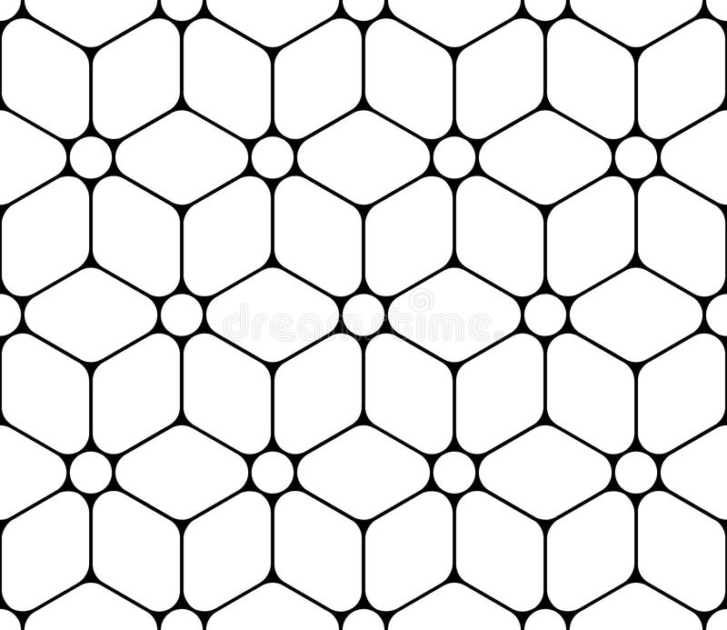 Dirigez la fleur sacrée sans couture moderne de modèle de la géométrie de la vie, résumé noir et blanc illustration stock