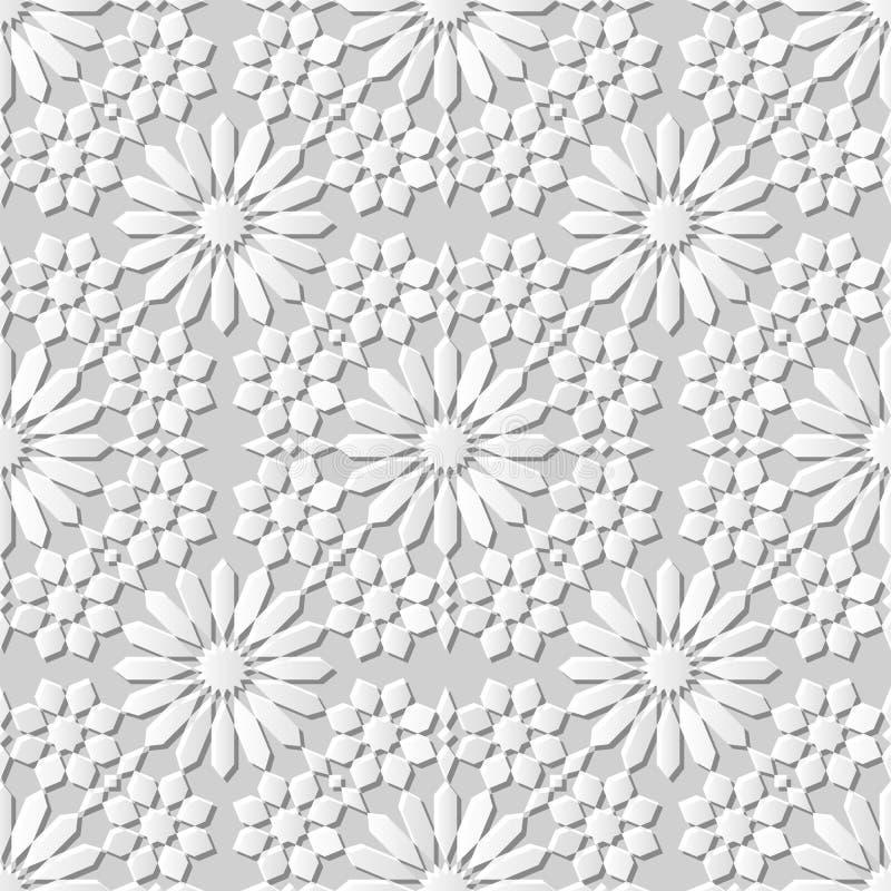 Dirigez la fleur sans couture de kaléidoscope du fond 012 de modèle d'art du papier 3D de damassé illustration stock
