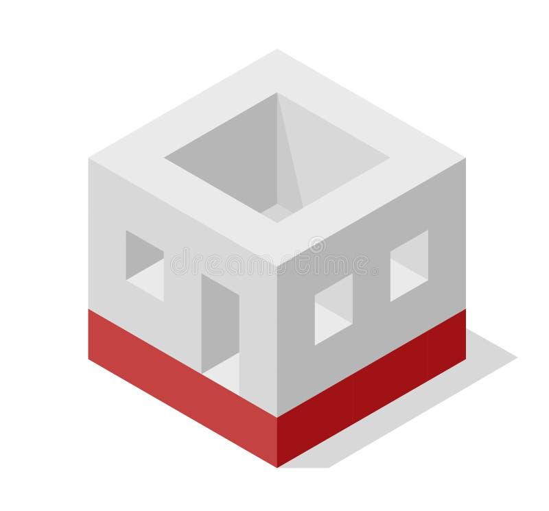Dirigez la forme de cube évoquant la construction approximative de la maison de famille La forme de bloc de Minimalistic aiment c illustration libre de droits