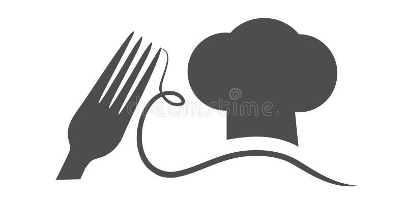 Dirigez la fourchette avec le chapeau du ` s de spaghetti et de cuisinier avec une moustache Symbole noir pour le menu de restaur illustration libre de droits
