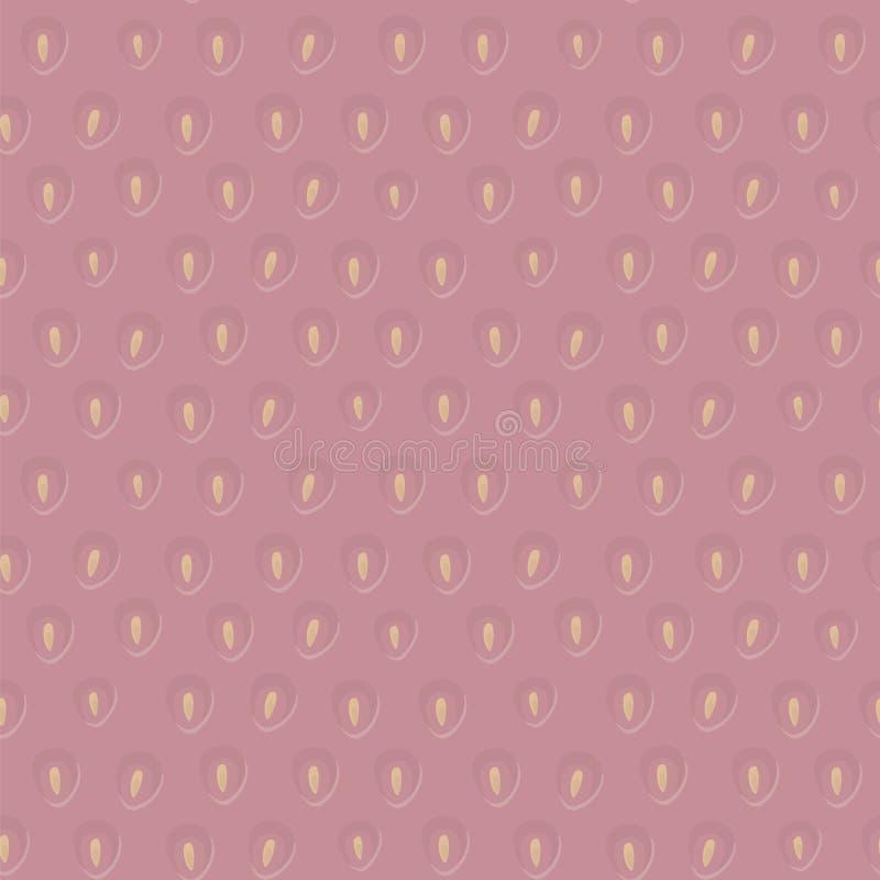 Dirigez la fraise douce rose avec le modèle sans couture convexe de graines jaunes illustration de vecteur