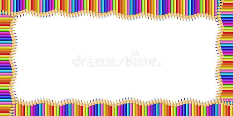 Dirigez la frontière de rectangle faite de crayons en bois multicolores d'isolement sur le fond blanc illustration stock
