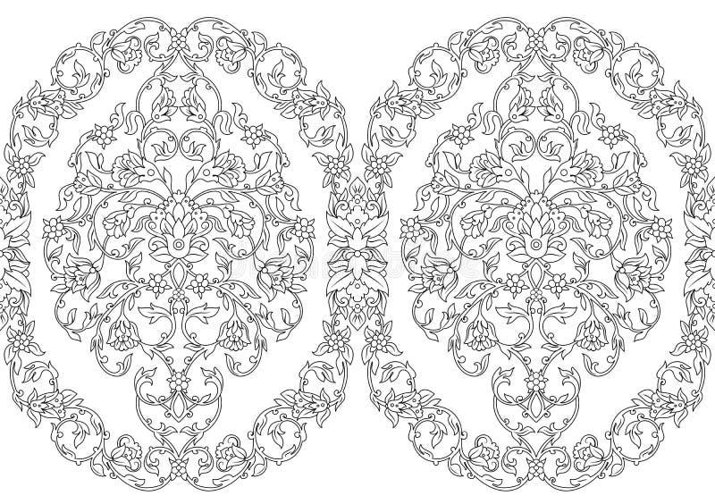 Dirigez la frontière sans couture complexe dans le style oriental sur le fond blanc Élément fleuri pour la conception Schéma mono illustration libre de droits