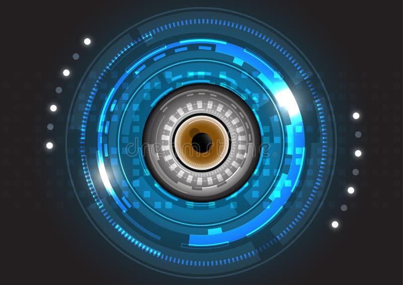 Dirigez la future technologie de globe oculaire, fond de concept de sécurité illustration stock