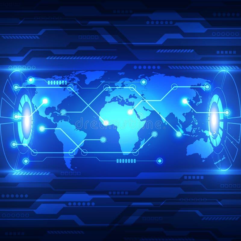 Dirigez la future technologie globale abstraite, fond électrique de télécom illustration libre de droits