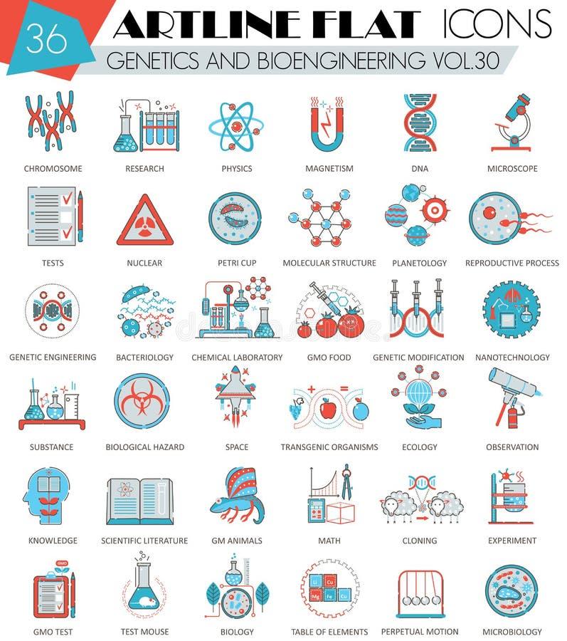 Dirigez la génétique et la ligne plate d'artline ultra moderne d'ensemble de bio-ingénierie icônes pour le Web et les apps illustration libre de droits