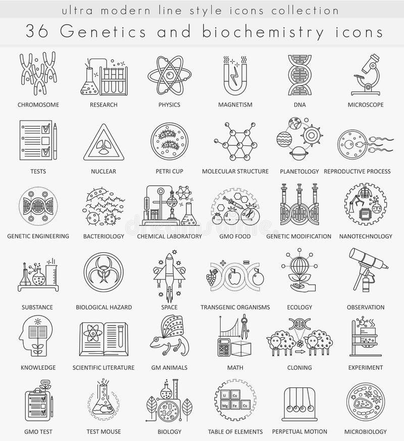Dirigez la génétique et la ligne ultra moderne icônes d'ensemble de technologie de biochimie illustration de vecteur