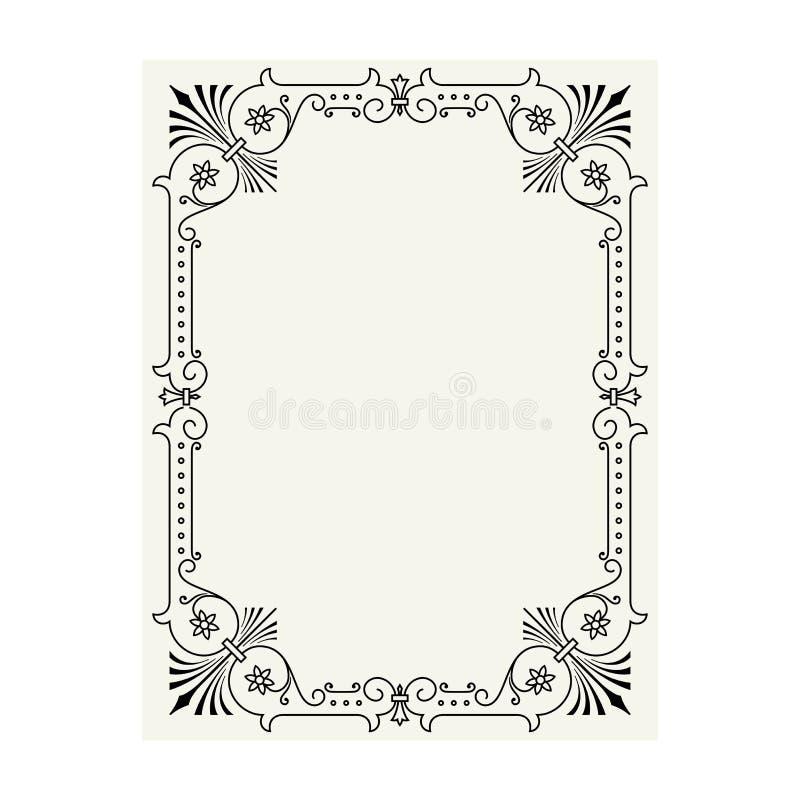 Dirigez la gravure de cadre de frontière de vintage avec le rétro modèle d'ornement dans la conception décorative de style rococo illustration stock