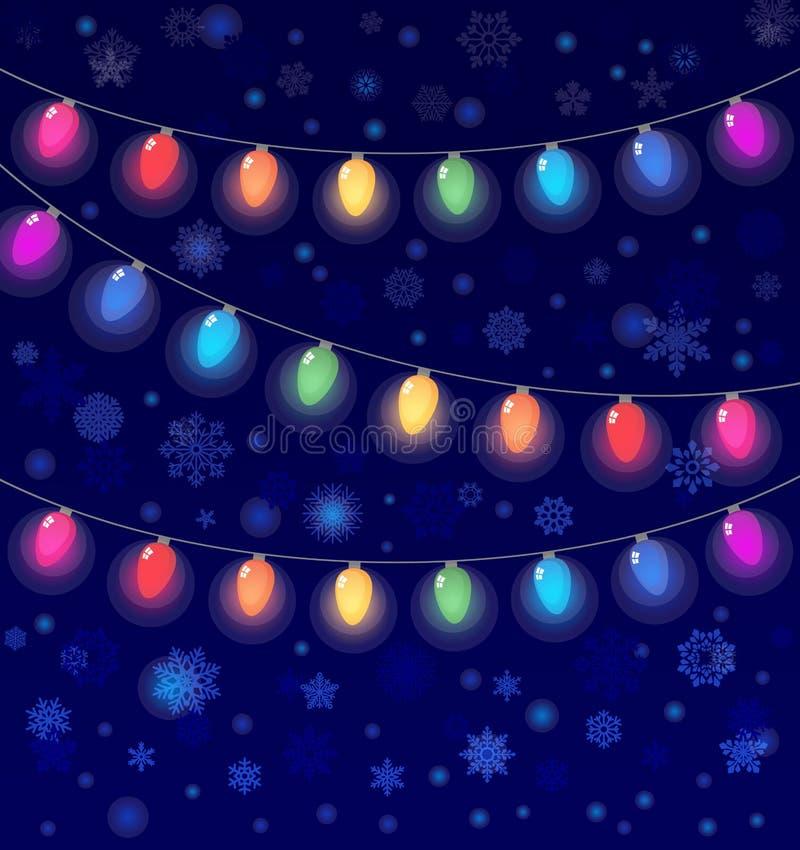 Dirigez la guirlande réaliste de lanterne sur le fond foncé de ciel nocturne avec des flocons de neige illustration de vecteur