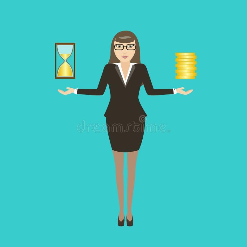 Dirigez la jeune femme d'affaires d'illustration avec l'heure et les pièces de monnaie de sablier en main illustration stock