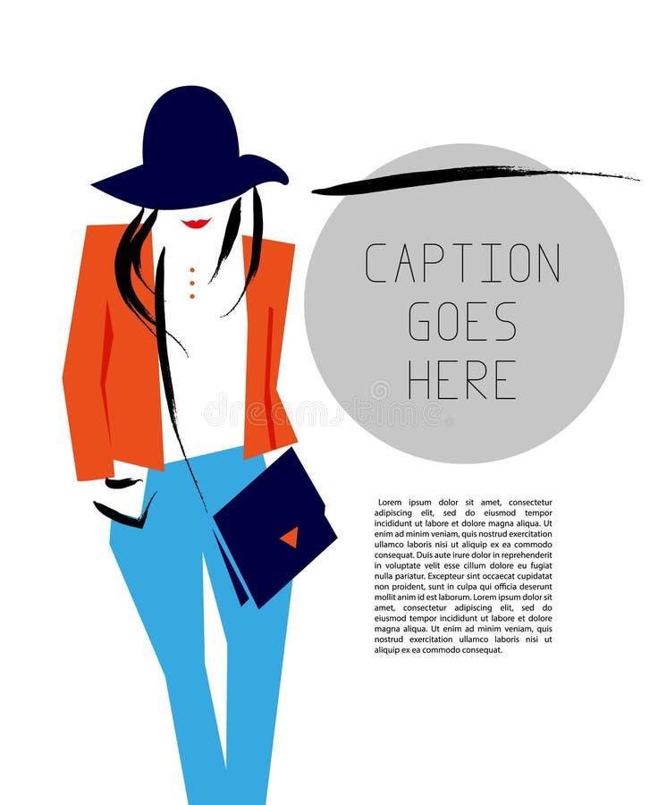 Dirigez la jeune fille élégante plate artistique tirée par la main en portrait de chapeau illustration libre de droits