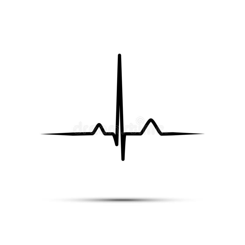 Dirigez la ligne fréquence cardiaque de noir d'isolement sur le fond blanc illustration libre de droits